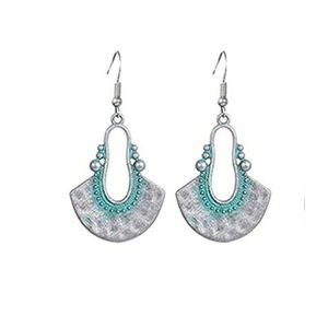 Bohemian silver and turquoise drop earrings